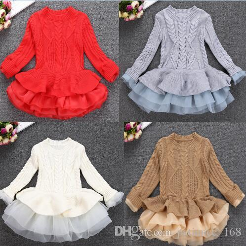4 colors INS styles new Girl kids autumn winter Princess organza silk dress cotton knitted long sleeves for children fashion elegant dress