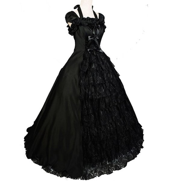 Southern Bell Costume Black Lolita Gothic Colonial Brocade Period ...