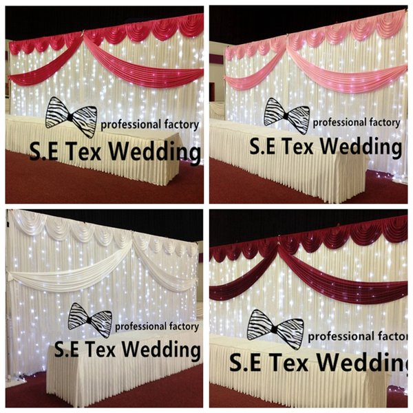 Cheap Price White Color Wedding Backdrop Curtain \ Stage Background Include Top Swag With String Led Lights Free Shipping