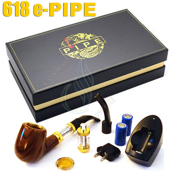 Top quality Pipe 618 E-pipe e sigaretta elettronica ego starter kit Lusso fumo 2.5ml atomizzatore 628 Clearomizer dual 18350 Battery gift box