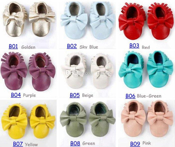 Fedex UPS Free Ship 50Pairs baby moccasins girls bow moccs 100% Top Layer soft leather moccs baby booties toddler shoes color &size choose
