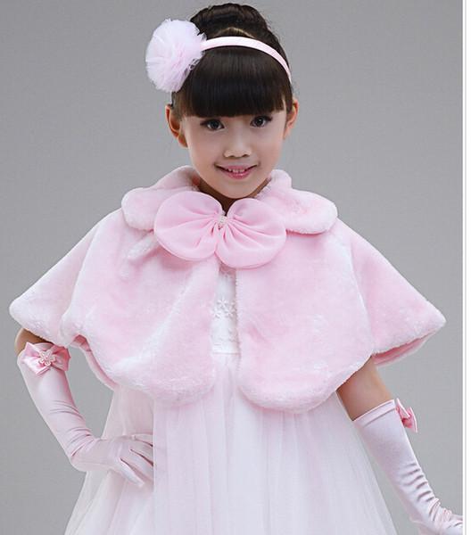 MOQ = 5 PCS crianças vestido acessórios princesa boleros de pele flor xales Poncho da menina capa criança kid clothing 2 cores rosa frete grátis