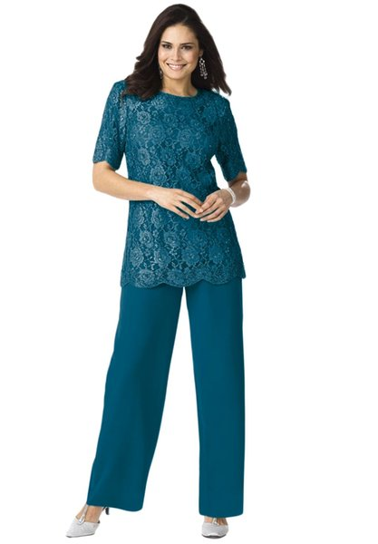 Blue Lace Chiffon Mother of the Bride Groom Pant Suits Half Sleeve Lace Top Formal Evening Party Suits