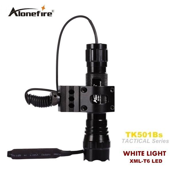 501B Linterna táctica 2000 lúmenes T6 Rifle de caza Antorcha Iluminación de escopeta Montaje de pistola de disparo + Montaje táctico + Interruptor remoto