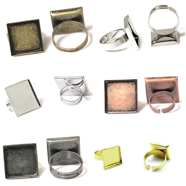 Beadsnice fashion jewelry components square ring bezel base diy brass ring blanks adjustable blank ring base for handmade ID 32249