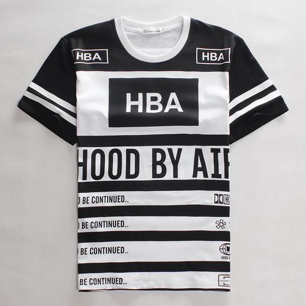 2015 HBA number 55 t shirt Men Hood By Air t-shirt short sleeve Hip hop tee T shirt camiseta masculina 3d hip hop clothing