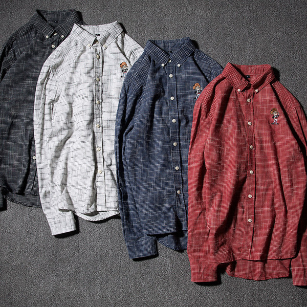 2017 new fall Style Men's shirt with vertical stripes Mens a sanding Mens wholesale cardigan Red, light grey, dark grey