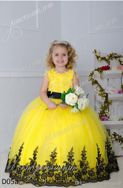 Crew Lace Applique Sash Ball Gown Tulle Lace Up Baby Girl Birthday Party Christmas Dresses Children Girl Pageant Dresses Flower Girl Dresses