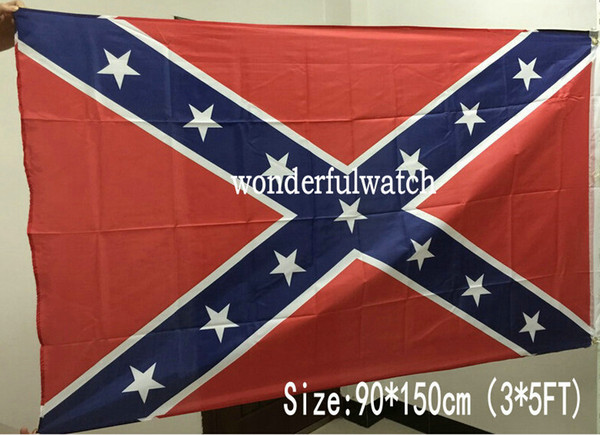 best selling 50pcs Confederate Rebel Flags Civil War Rebel Flag National High Quality Polyester Two Side Pirnted 3*5 Bettle Flags 150*90cm By DHL