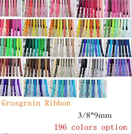 """best selling 15% off TOP quality 3 8"""" 9mm 196 Solid Colors Grosgrain Ribbon for Hair accessories Craft Sewing Chocolate Packaging,200 Yards OEM"""