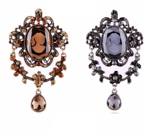 Strass Banhado A Ouro Cinza Antigo Cameo Broches Rainha Broche Pinos Para As Mulheres presentes de natal para a festa de Noiva broche de cristal bouquets