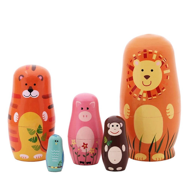 "top popular 5pcs Nesting Dolls Handmade Wooden Cute Cartoon Zoo Animals Pattern 6"" 2021"