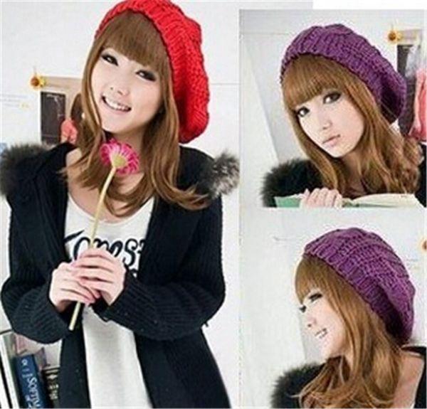 200pcs HOT sale 10 colors Ski Cap Women Girls Knitted Braided Beanie Warm Hat Baggy Beret Chunky Cotton CAP D463