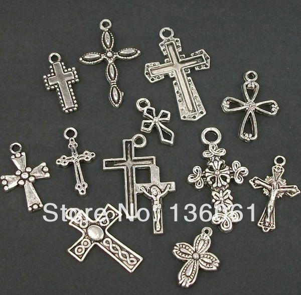 200 PCS Moda Vintage Pregas Mista Jesus Cruz Encantos Pingente Para Pulseiras Colar DIY Jóias De Metal Fazendo Acessórios P2002