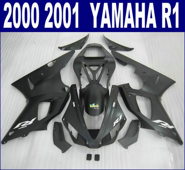 7 free gifts ABS fairing kit for YAMAHA 2000 2001 YZF R1 all matte black fairings set YZF-R1 00 01 motobike set BR34