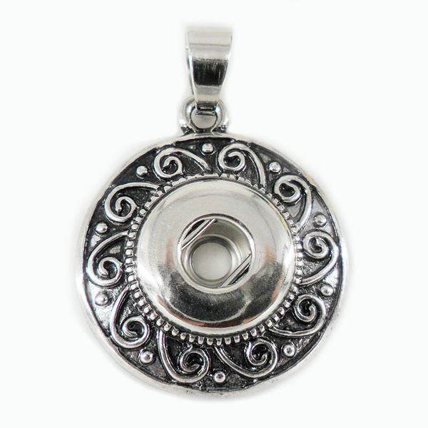 Antike silberne Blume NOOSA Stückmetalllegierung Ingwer-Schnellknopf-Anhänger-Halskette Austauschbarer Knopf Jewerly 10pcs