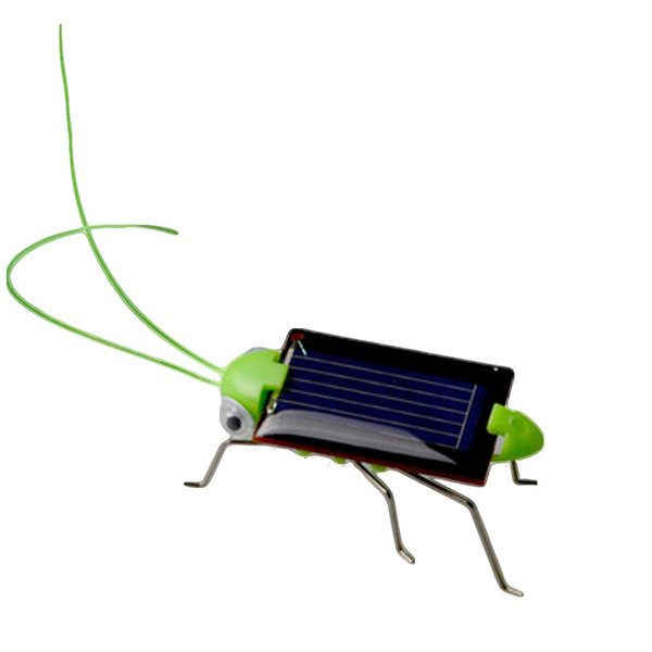 Wholesale- New Kids Solar Toys Energy Crazy Grasshopper Cricket Kit Toy Yellow And Green Solar Power Robot Insect
