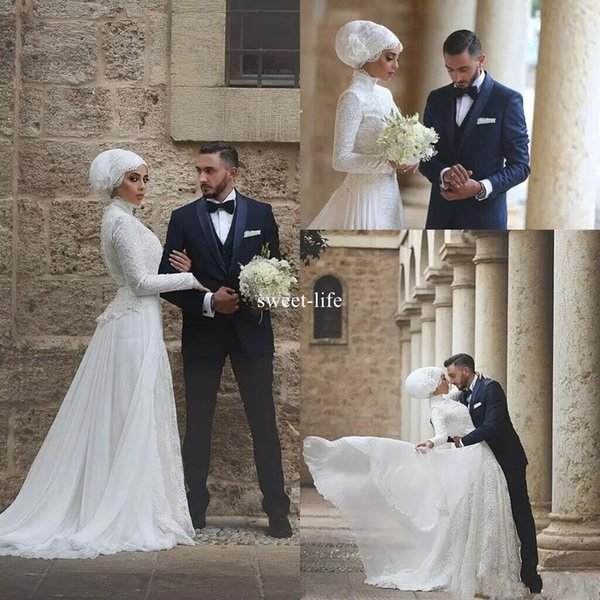 Arabic Muslim New Fashion 2017 A Line Wedding Dresses High Collar Long sleeve Covered Button Full Lace Chiffon Floor-length Bridal Gowns