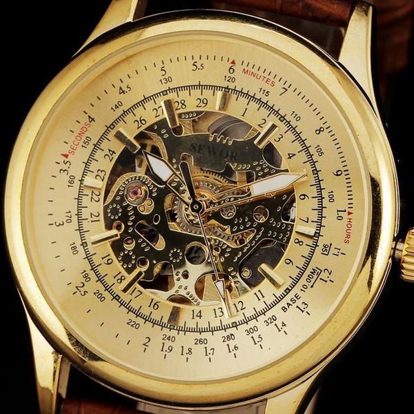 2015 nuevos relojes de moda para hombres marca de lujo caja de acero dorada skeletoncomplex automático correa de cuero reloj relogio masculino