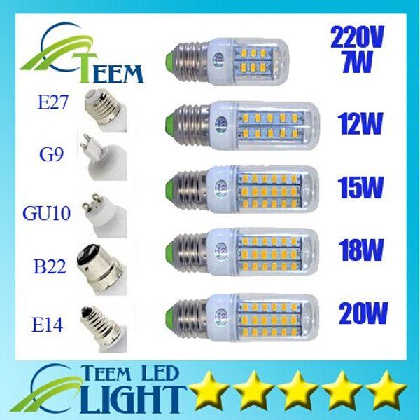 top popular DHL High quality ultra bright Led bulb E27 E14 B22 G9 110V-240V SMD 5730 chip 360beam angle led corn light lamp lighting 50 2020