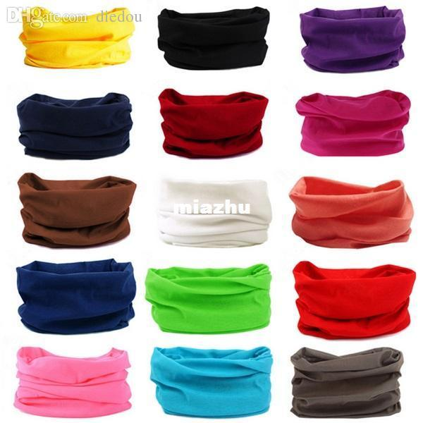 2016 Colori Solidi Ciclismo Maschera Tubo da corsa Sciarpa Bandana Head Neck Gaiter Warmer Snood Bicicletta Riding Plain Headwear Beanie