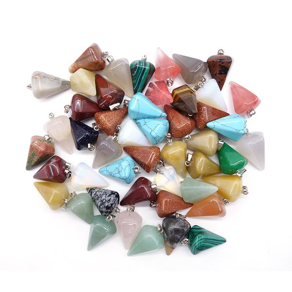 Natural Stone jewelry pendants Hexagonal Cone Solid stone multicolour Stone pendants quartz crystal agate fit necklaces for necklace