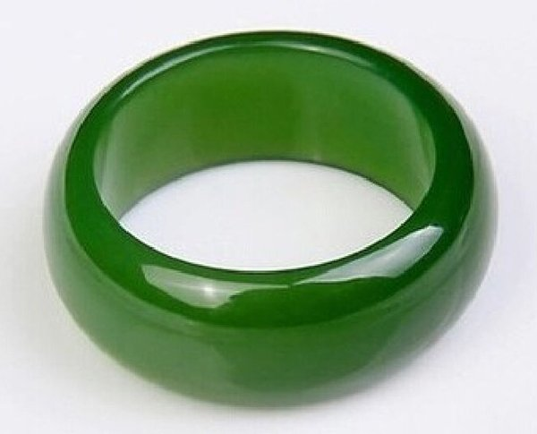 HOT rare natural green hard jade hand carved man or woman ring size9.5