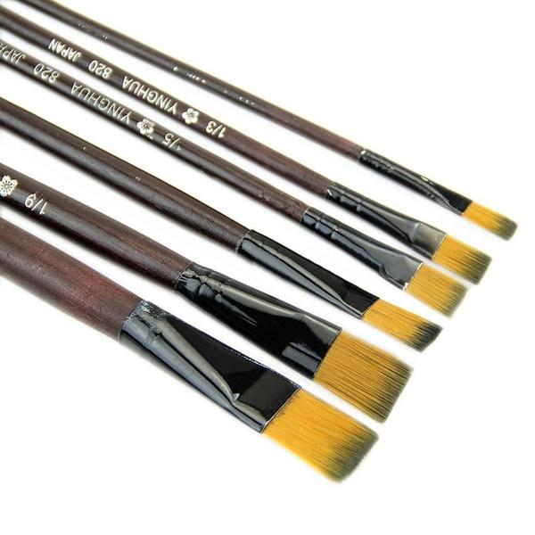 Wholesale-Art Artist Supplies 6 Brown Nylon Acrylic Painting Drawing Oil Paint Brushes Pen B1061 PBP