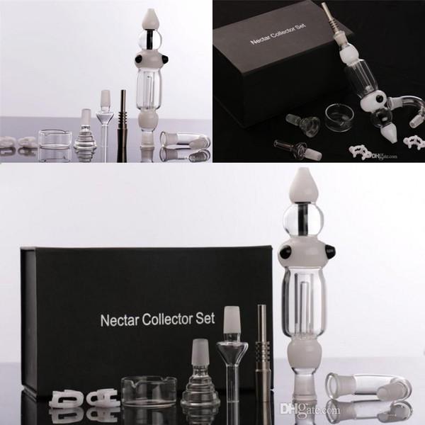 2015 Set completo di tubi in vetro per fumatori Nettare Collettore raffreddato ad acqua Essenziale Vaporizzatore Miele Pagliaio Netar Collettore Paglia 14.4mm Grande