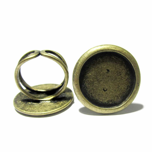 Beadsnice brass ring base blanks with 20mm round pad cameo setting adjustable finger ring base jewelry making supplies ID 920