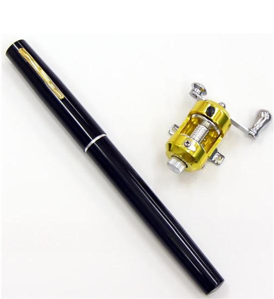 best selling 6 Color 3ft Mini Telescopic Portable Pocket Ice Fishing Rod Pen Aluminum Alloy Fishing Rod Pole + Rod Reel Combo