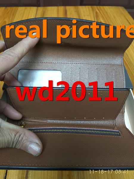 Venta al por mayor con caja de cuero real multicolor monedero monedero código de fecha billetera larga Titular de la tarjeta mujer hombre clásico bolsillo con cremallera