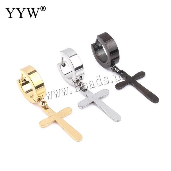 Wholesale- YYW 1 pc Steel Black Gold-color Cross Charm Trendy Cool Men Stainless Steel Huggie Hoop Earring For Men Dress pierced earring