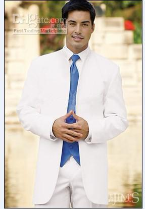 Hot Sale White Groom Tuxedos Mandarin Lapel Groomsmen Men Wedding Suits(Jacket+Pants+Tie+Vest)H467