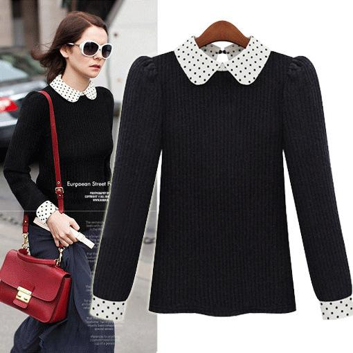 2019 2014 Polka Dot Female Peter Pan Collar Long Sleeve Sweater Pullover  Sweater Pullover Spring Women 9187 From Babala1 e8fe74c58
