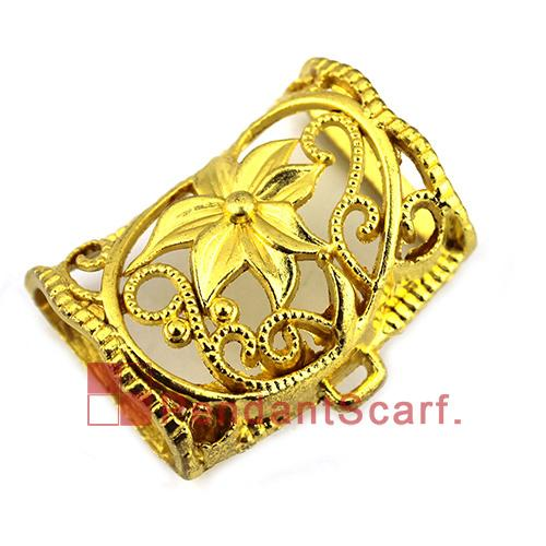 New Design DIY Necklace Pendant Scarf Jewelry Golden Plated Charm Flower Jewellery Scarf Pendant Slide Bails Tube, Free Shipping, AC0265I