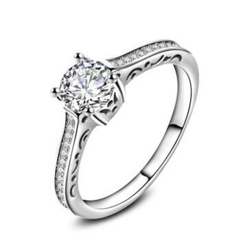 NATURAL 4 PRONGS ACCENTS LAD DIAMOND RING ROUND 1.85 CTS 18 KT WHITE GOLD FILLED VVS1 D