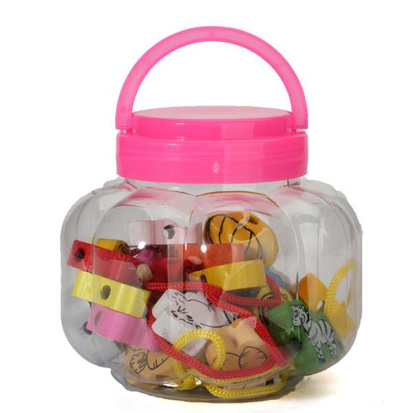26 unids / lote Bloque de Fruta de Madera Animal ensartado moldeado Juguetes Para Niños que Aprenden Educación Productos Coloridos Niños Juguete 2.5 cm