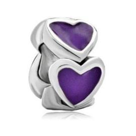 5mm hole Valentine's Day Purple Enamel Heart Love Charm European bead Fit Pandora Chamilia Biagi Charm Bracelet