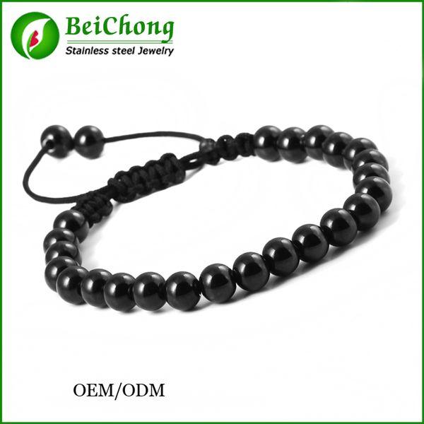 BC 1PCS New Anil Arjandas Macrame Bracelets,Gold Silver Black Micro Black Stoppers Beads Briading Macrame Bracelet For Men Jewelry BC-0220