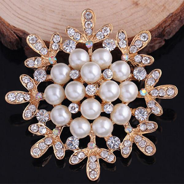 Top Qaulity Imitation Pearl And Crystals Flower Brooch Luxury Wedding Bridal Bouquet DIY Brooches Party Costume Collar Pins Cheap Price!!