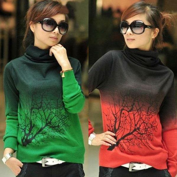 Venta al por mayor al por menor Venta al por mayor Multi-colores para mujer Cuello alto Lana Suéteres Suéteres Árbol Patrón Camisa de punto Tops S M L XL