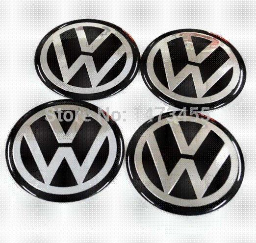 top popular Free shipping 1set=4pcs Aluminum VW Volkswagen wheel center cap emblem badge decal stickers wheel hub stickers 56.5MM 2019