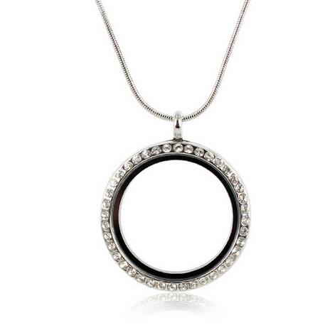 2016 new diy Free Shipping 30mm Silver Round Photo Magnetic Memory Glass Locket With Rhinestone Floating Locket Pendant With Snake Chains