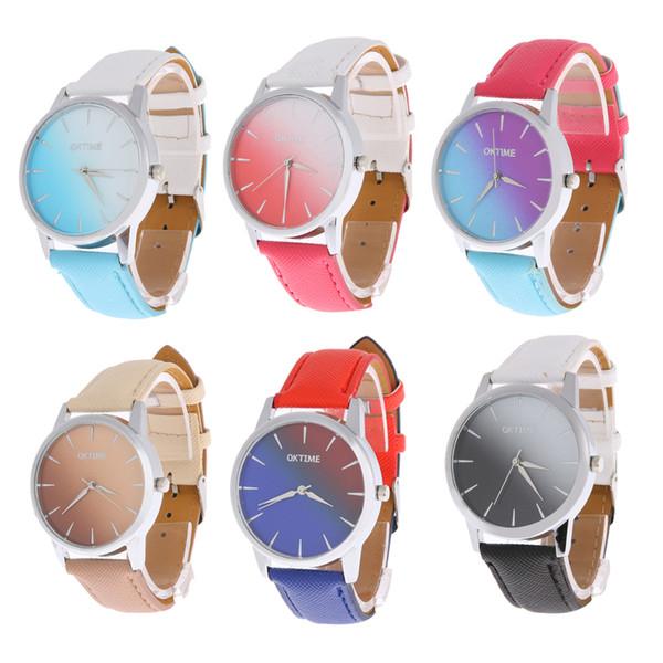 New Rainbow Hit Gradient Color Women Girl Watch Leather Band Analog Quartz Bracelet Ladies Wrist Watches Women