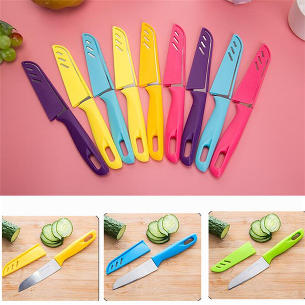 Portable Fruit Knife Stainless Steel Chef Knife With Plastic Handle For  Meat Fish Vegetables Fruits Cutting Slicing Candy Color Knives Kitchen  Knives ...