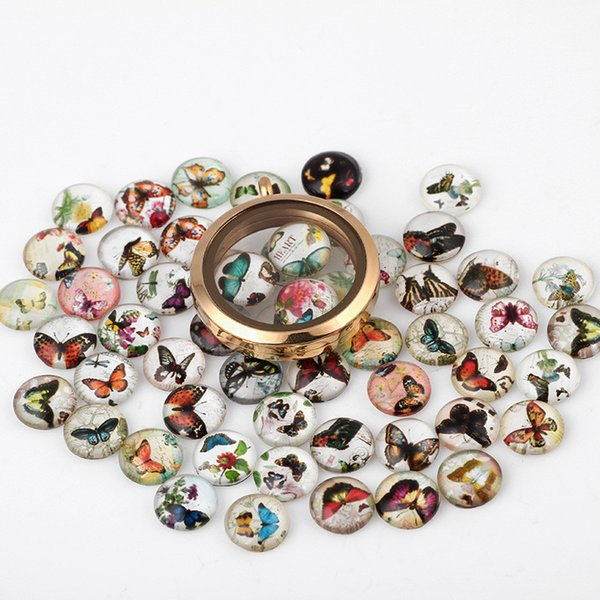 20PCS/Lot Butterfly New Paint Glass Floating Charms Floating Locket Charms Mixed Styles Fit Floating Lockets&Floating Locket Bracelet FC127