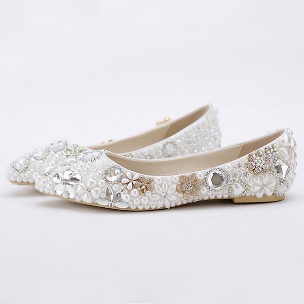 2019 Schöne Flache Ferse Weiße Perle Hochzeit Schuhe Komfortable Kristall Braut Wohnungen Angepasst Mutter der Braut Schuhe Plus Größe