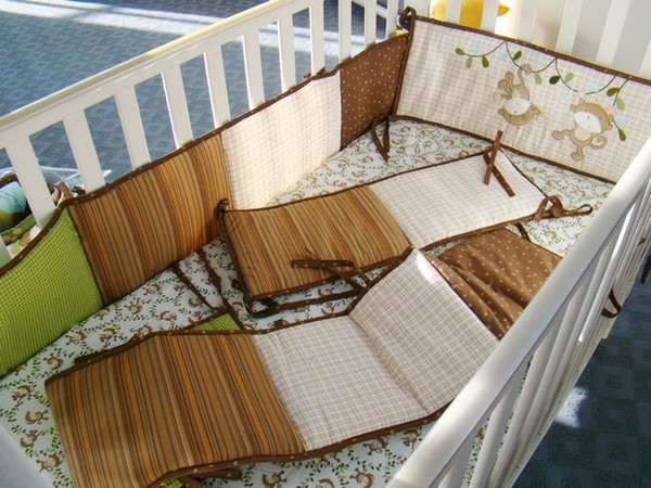 Promotion 9Pcs Crib bedding set for boy girl Baby bedding set Cotton Cot bedding set Crib Quilt Bumper Diaper bag Blanket