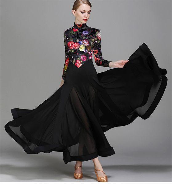 Vestito da ballo per adulti / per ragazze Vestito da ballo moderno per valzer moderno Vestito da ballo per pratiche Vestito nero stampato con fiori a collo alto
